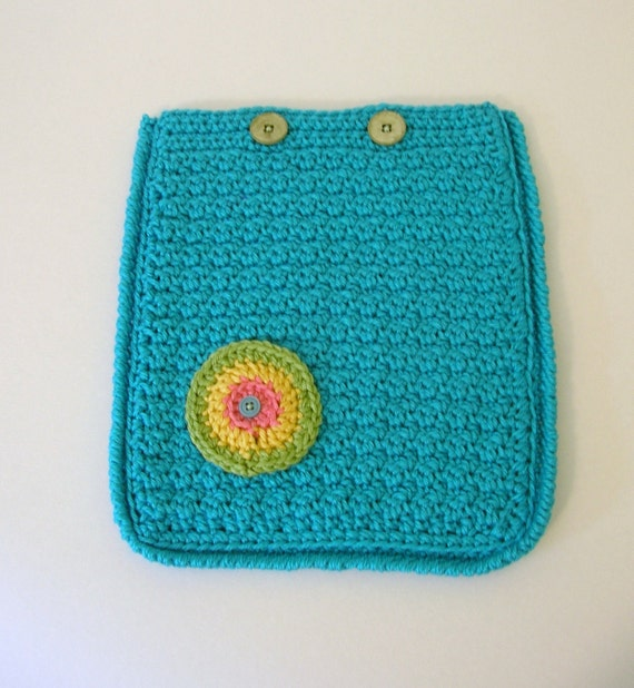 Crochet iPad Case Cozy Cover  Aqua Turquoise Handmade Littlestsister