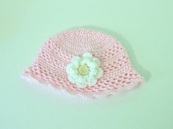 SALE - Crochet Baby Hat, 6 months, Pastel Pink with White Flower and Button
