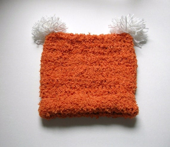 Crochet  Children's Hat  Square with Pompoms  Orange Handmade Littlestsister