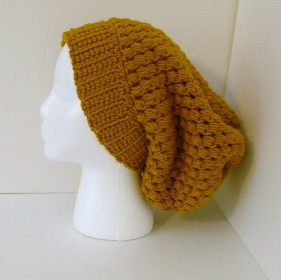 Crochet Slouchy Hat Beret Beanie - Gold