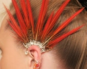 Gold Pheasant Fairy Ear cuff with feathers and gems for the left ear.