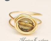 Coffee Quartz 8mm Faceted Round Bead Ring - tarnish resistant gold color wire
