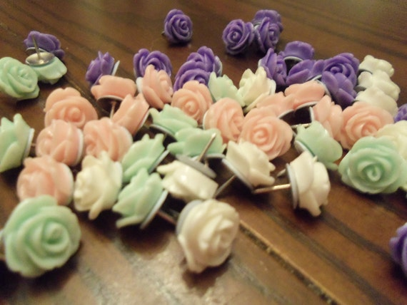 13mm Resin pastel green, white, purple and pink flower push pins, thumb tacks