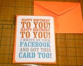 funny birthday card, happy birthday, note card, facebook