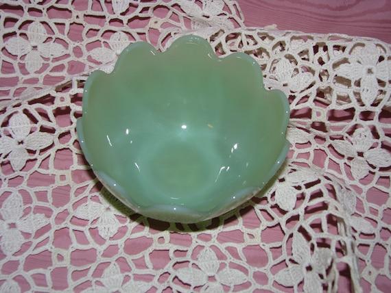 Fire King Jadite Glass Leaf Blossom Dessert Bowl