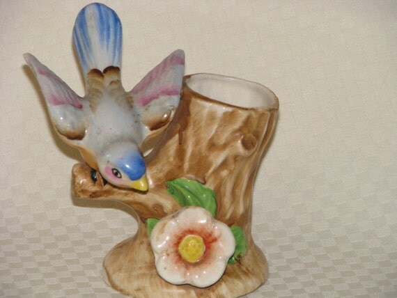 Vintage Ceramic BlueBird Planter - Japan