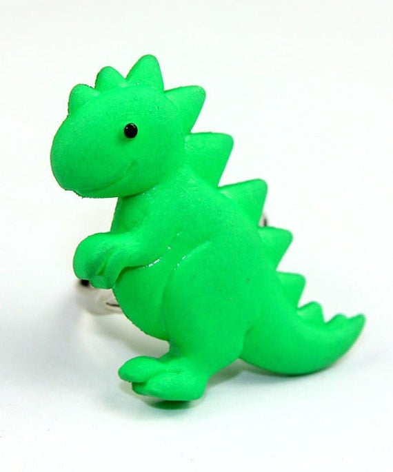 Green T-Rex Dinosaur Ring - Trendy Modern Cute