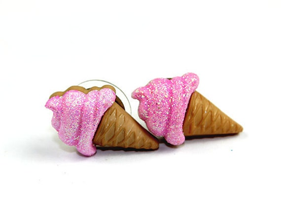 Sparkly Glitter Pink Ice Cream Cone Stud Earrings