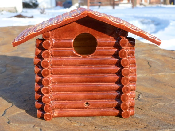 Log Cabin Bird House             FREE SHIPPING