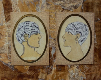 Phrenology Head Couple - Mixed Media Newsprint Collage - Distressed Rustic Decor - Vintage Style Wall Art - Newspaper Portraiture