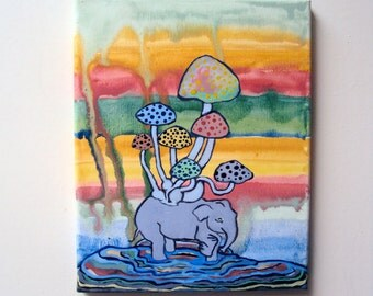 Original Whimsical Canvas Painting - Indie Art - 8 x 10 Hipster Wall Art - Hippie Boho Painting - Colorful Boho Decor - Bright Bohemian Home
