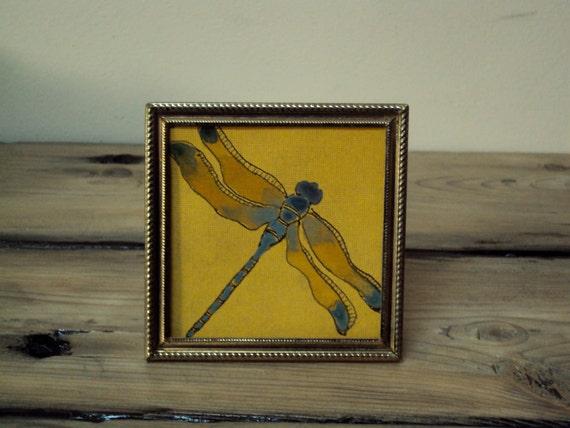 Tiny Framed Dragonfly Paint Drawing - Tiny Art - Woodland Insect Decor