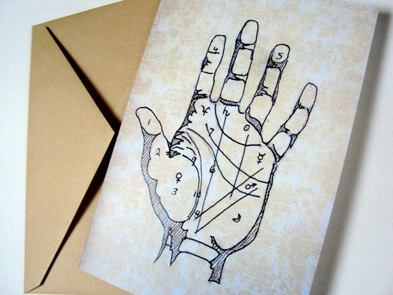 Palmistry Chart Blank Card - Quirky Greeting Card - Astrology Halloween Card - Victorian Tarot Hand - Occult - Secret - Spooky - Mystery