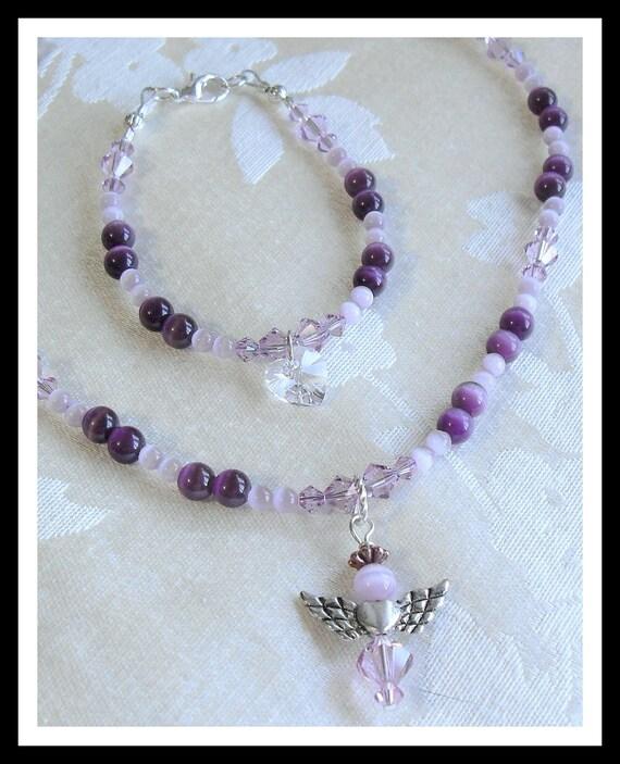Kids Jewelry Set, Crystal Necklace, Bracelet