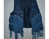 amazing deep blue studded fringe cowgirl vest