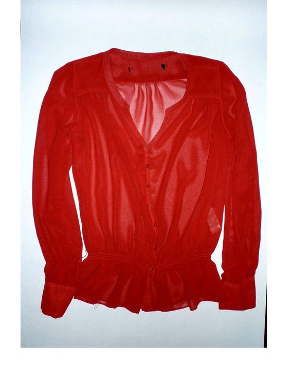 sheer red secretary blouse