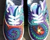 Zentangle sneakers, shoes, sneakers, zentangle art, original art, OOAK, womens sneakers, Custom sneakers, handpainted