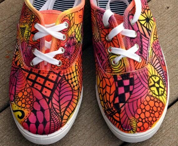 Zentangle sneakers, shoes, sneakers, zentangle art, original art, OOAK, womens sneakers, handpainted