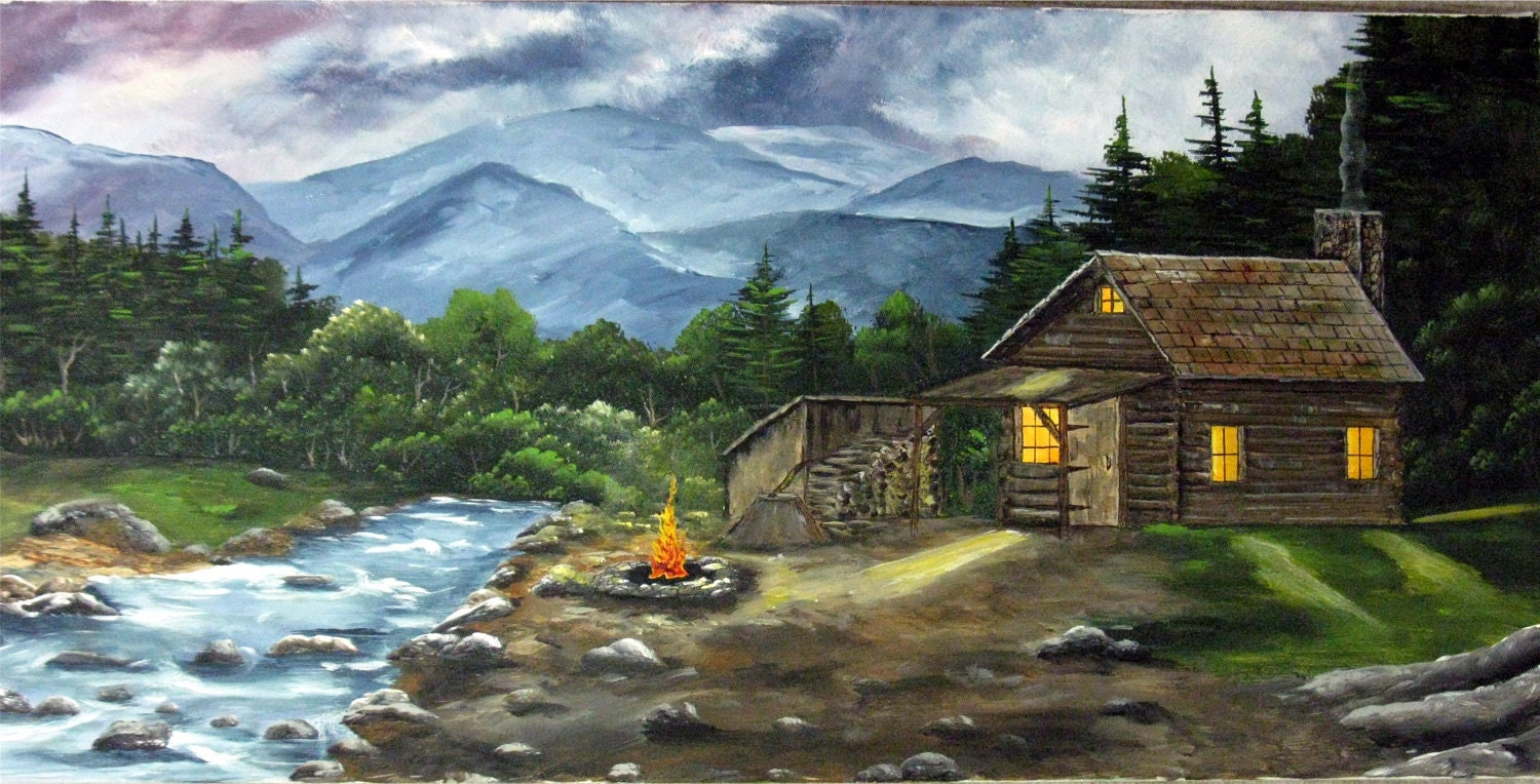 Acrylic Paintingcanvas Paintingcabin Log Cabin Mountains
