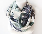 SALE Flowers in Spring -  green, gray - shabby valentine Circle Scarf Soft Infinity Scarf - cowl, scarf, over the shoulders - WhimsyTime