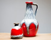 Set of two red, white and black West German vases by Bay