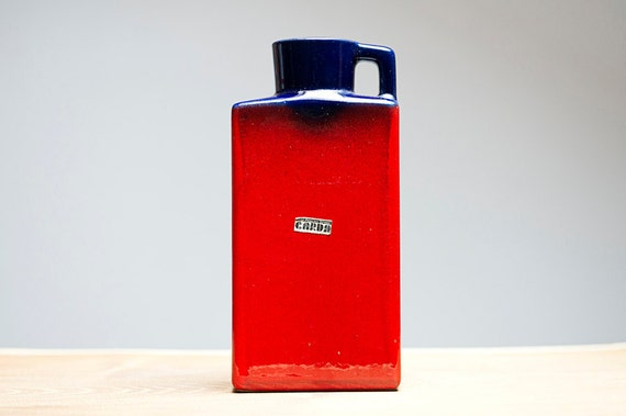 Red & Blue West German vase