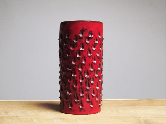 Vintage red vase with tears decor