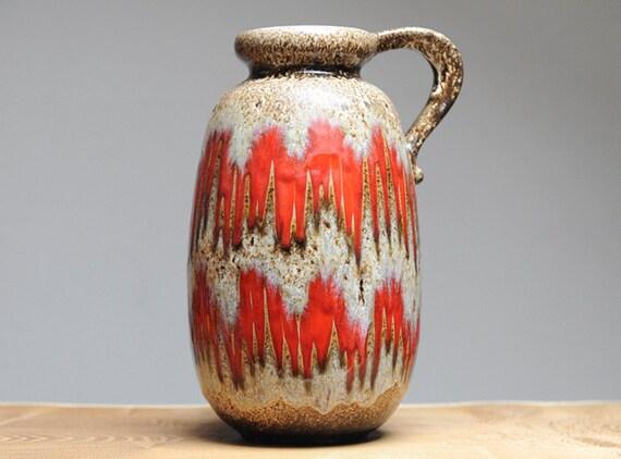 West German handled vase by Scheurich (484-27) in Lore decor