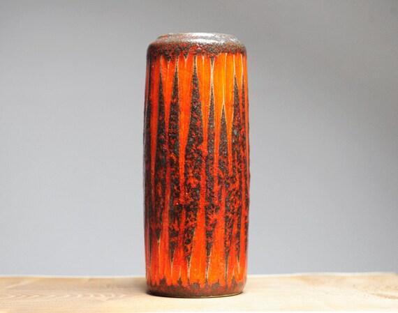 Fiery orange West German vase by Scheurich