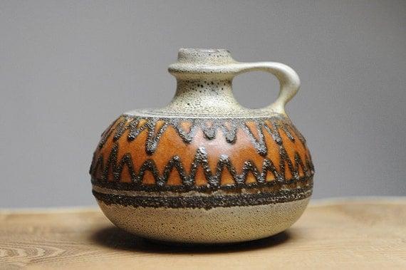 Funky mid century handled vase by VEB Haldensleben (East Germany)