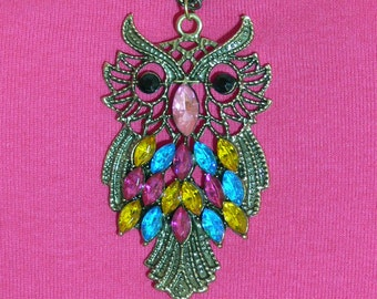 Necklace - Large Owl Pendant with Chain - FS-109