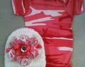 Pink camouflage onesie set with matching beanie hat w/ pink camo boutique bow