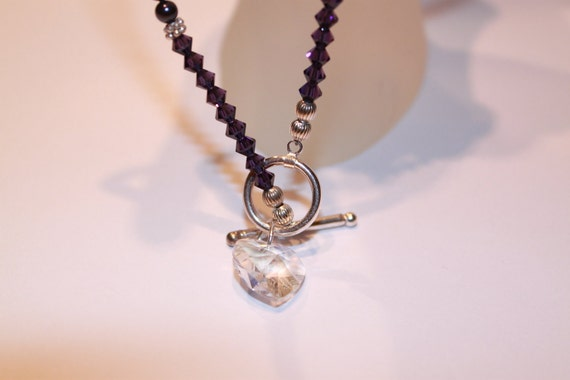 Faceted Heart Pendant Crystal Necklace