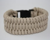 Khaki Paracord Bracelet with Wide Fish Tail Weave