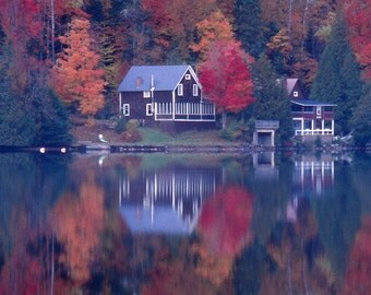 Fall foliage, photographs, reflections, New England, Joe's Pond, New Hamphire