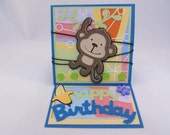 Happy Birthday Kids Cute Monkey Easel Card