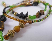 """Waist Beads - """"Coconut & Lime""""   - Green Gold and Black Color Block WaistBeads"""