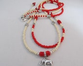 Waist Beads -  Delta Sigma Theta Collection - Double Strand Crimson and Cream WaistBeads with Elephant charm