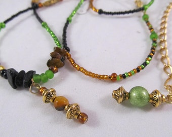 "Waist Beads - ""Coconut & Lime""   - Green Gold and Black Color Block WaistBeads"