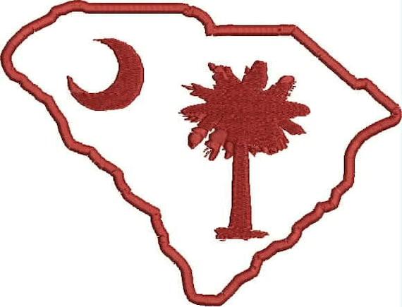 South Carolina Embroidery 2 Pack.  (1.) SC Palmetto State Applique 3x4, 4x5, 5x6  (2.) Palmetto Crescent Moon Design 3x3, 4x4, 5x5.