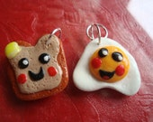 Sweet Little Egg and Toast Pair Cute Kawaii Clay Charms Kitsch Best Friends