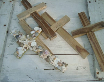 Beach Wedding Seashell Crosses /Bridesmaid gift set of 4/Hostess gift