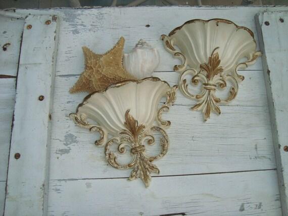 Vintage Syroco Wall Pockets with Seashells