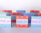 Extra mini thank you  cards 2 x 2, red and blue, set of 10