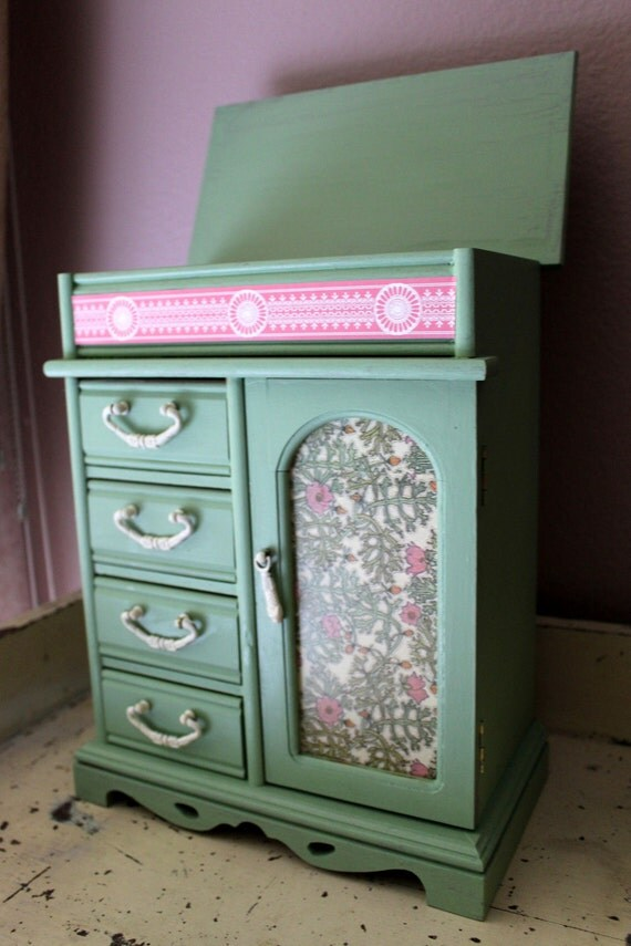 Pink and Green Upcycled Jewelry Box- Anthropologie Inspired- French