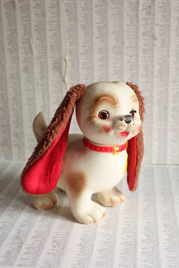 Edward Mobley Bowser Wowser Blink Eye Puppy Dog - Fabulous Vintage 1962 Rubber Squeaky Toy Puppy - by Arrow Rubber