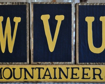 WVU Mountaineers Wood Sign