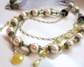 Yellow opal necklace - faux pearl necklace - multi strand necklace