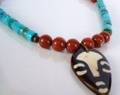 Turquoise tribal style necklace - Red jasper and turquoise necklace