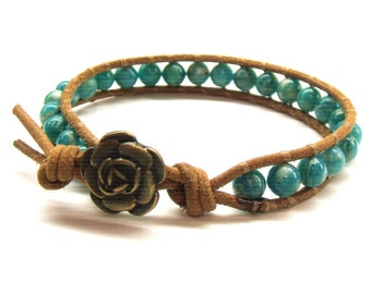 Tan leather wrap bracelet with teal Russian amazonite beads